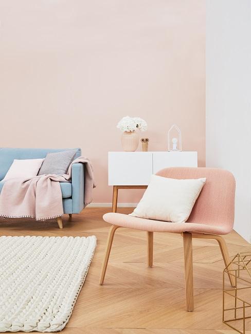 Stilmix Scandi und Rosa Wohnzimmer