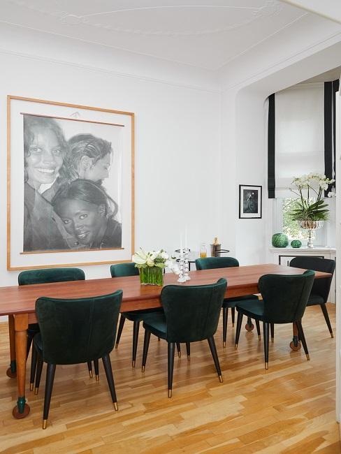 Designer Esszimmer grüne Stühle