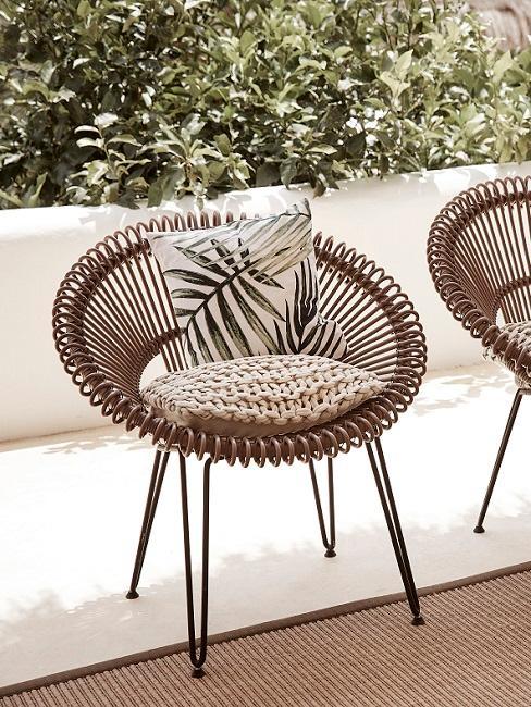Kolonialstil Sessel aus Rattan mit Kissen