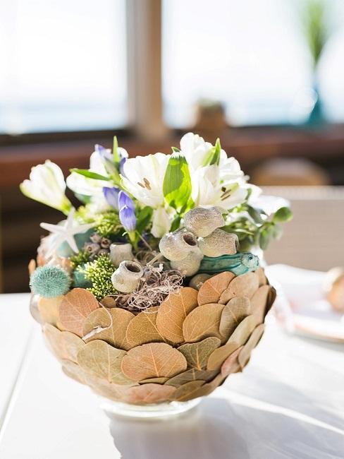 Tischdeko Hochzeit Pflanze Deko Blumen