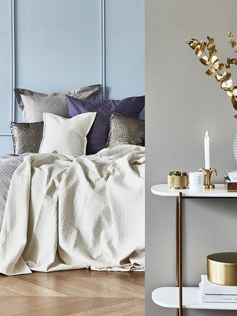 Wandfarbe Blau und Grau im Schlafzimmer mit blauen und grauen Kissen