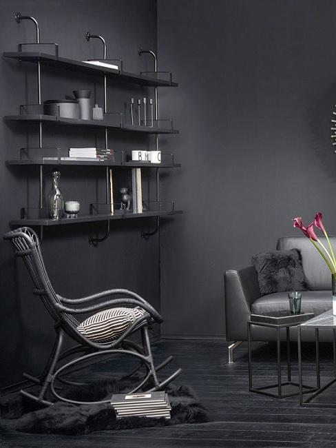 Schwarze Wandfarbe mit schwarzen Möbeln