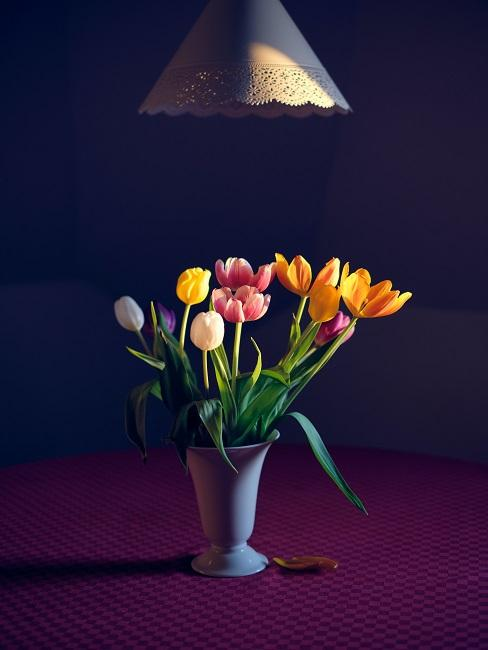 Bunte Tulpen in Vase bei dunkler Umgebung