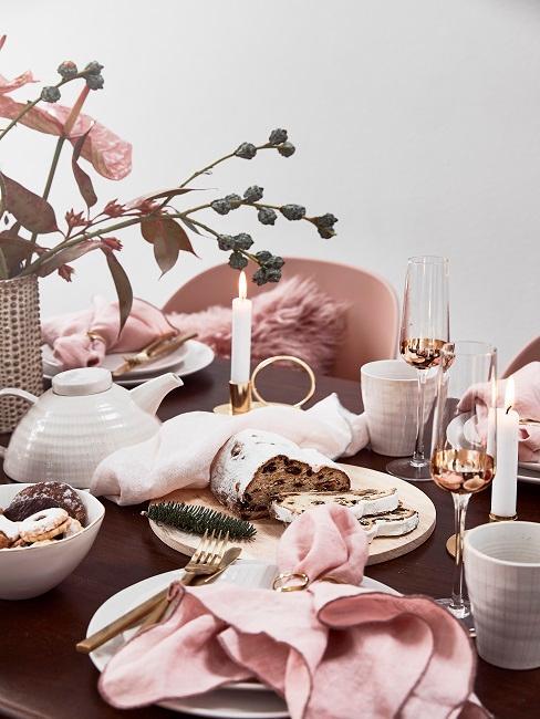 Tischdeko Rosa Weihnachten Kerzen