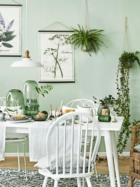 Cocina en verde pastel