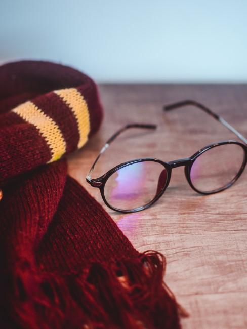 disfraz de harry potter con gafas y bufanda sobre una mesa