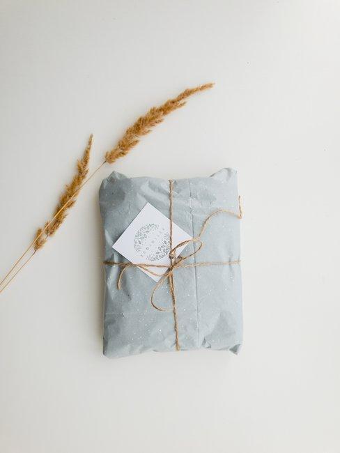 Witte achtergrond met blauw cadeau en graan stengel
