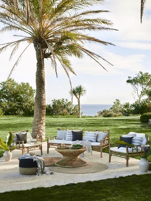 Moderne tuin met houten loungset in mediterraanse stijl met palmbomen en gras