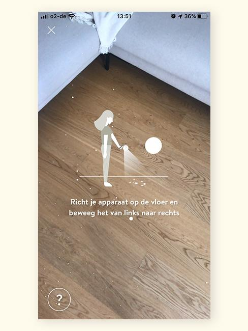 Houten vloer met AR screening