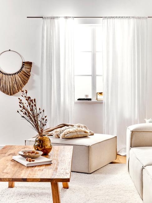 Landelijk interieur header woonkamer in beige en hout