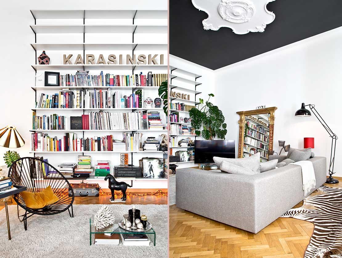 eklektický styl obývací pokoj s knihovnou