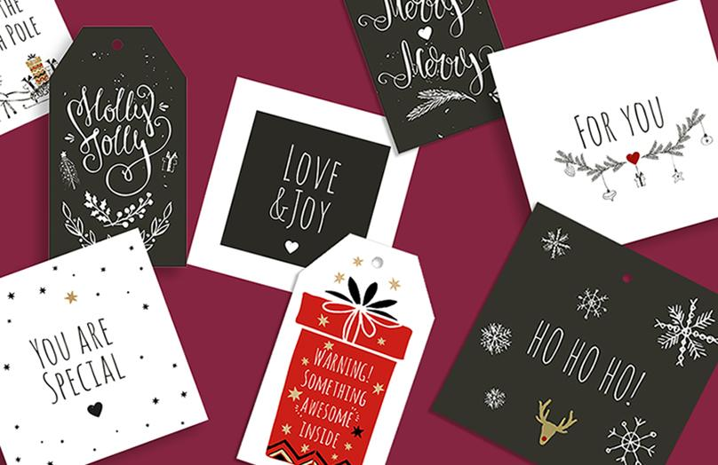 Para imprimir: tarjetas para regalos de Navidad