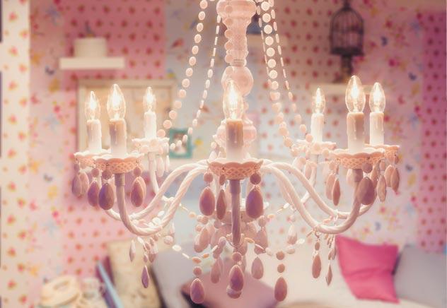 lampadario rosa