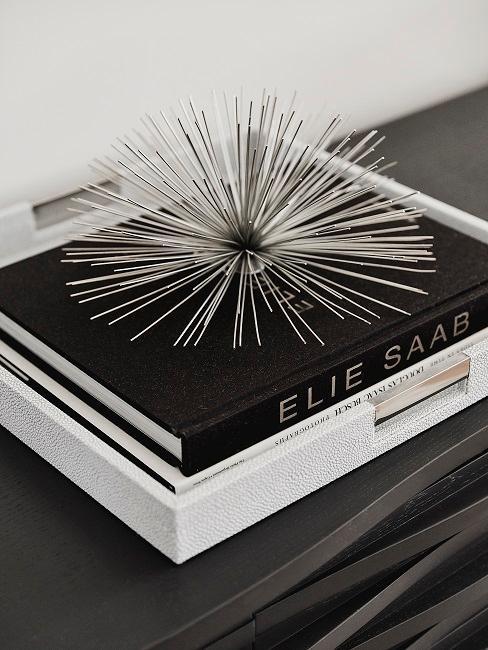 Dettaglio camera da uomo con libri ed elemento decorativo argento