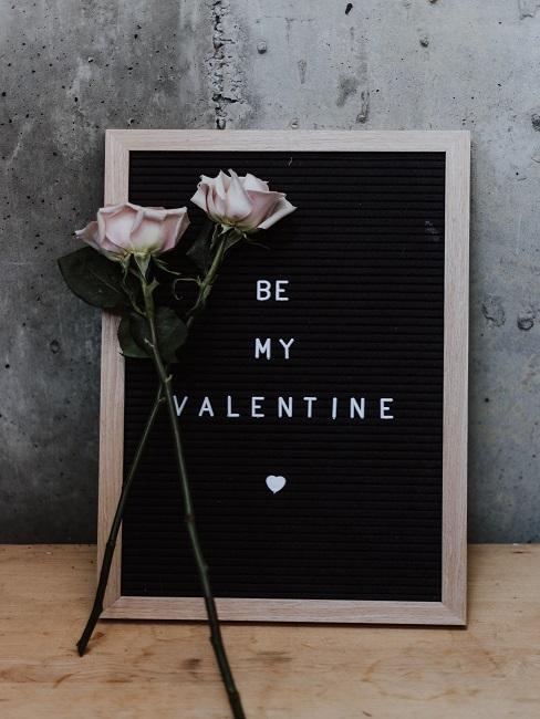 Valentinstag Sprüche Schild mit Rosen