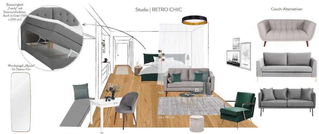 Kleines Appartment einrichten Vorschlag Retro Chic