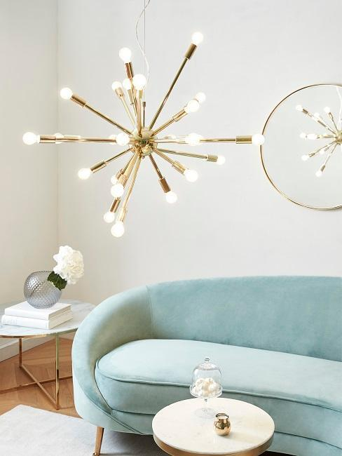 sofa canape en velours couleur menthe pastel suspension moderne miroir mural laitonne dore