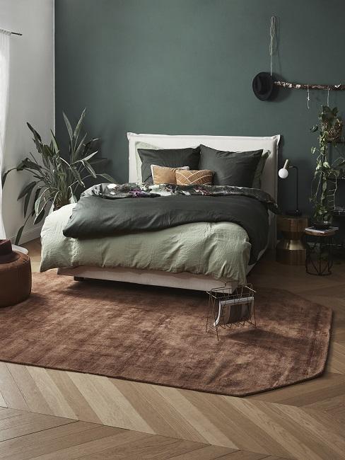 Tmavé zelená barva ložnice