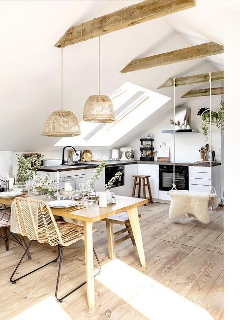 kuchyně-v-podkroví ve skandinávském stylu