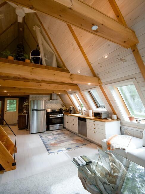 Skandinávský styl obýváku v podkroví 2