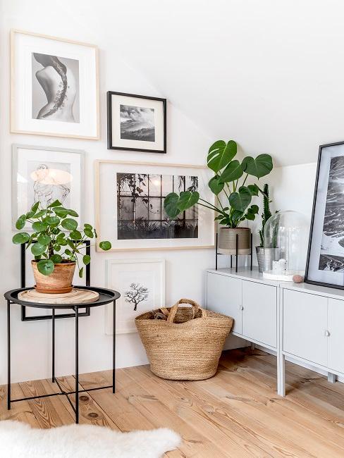 Yogaraum mit Bilderwand und Pflanzen