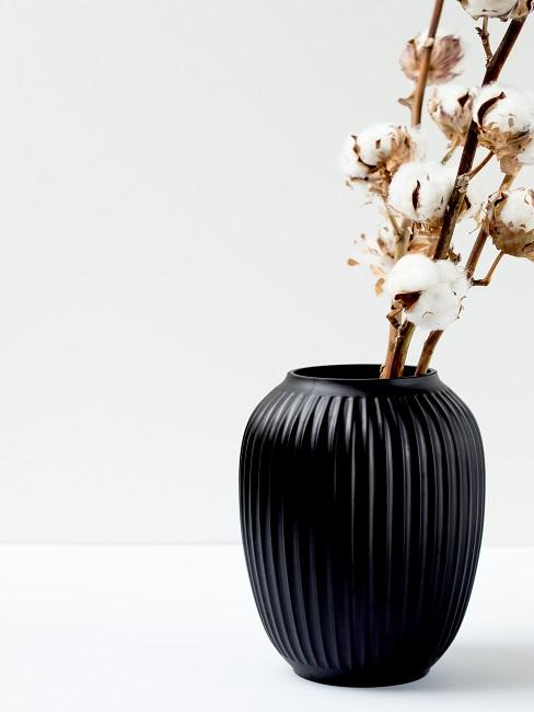 Gałązki bawełny w czarnym wazonie