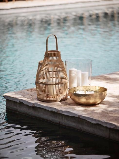 Kerzendeko am Pool im Outdoor Bereich als Kerzendeko