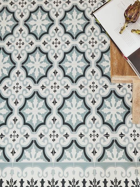 Küchenfliesen mit grafischem Muster in einer detaillierten Aufnahme.