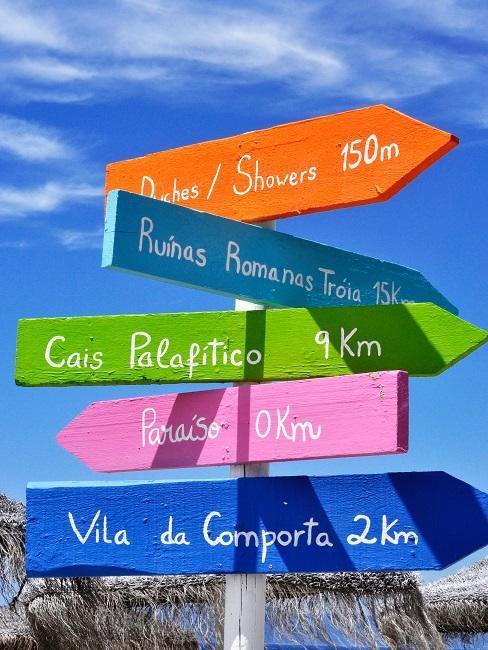 """Bunte Ortsschilder vor blauem Himmel, auf einem davon steht """"Vila de Comporta 2 km"""""""