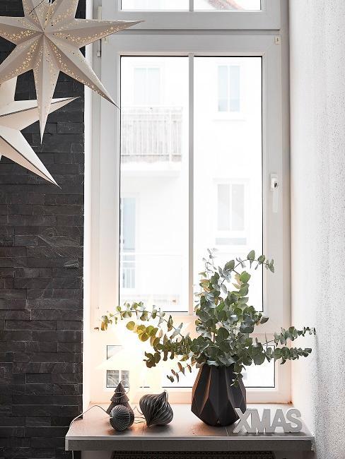 Eukalyptus in einer Vase auf dem Fensterbrett.