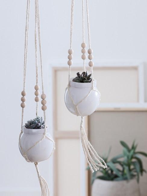 Zwei kleine Makramee Blumenampeln hängen in der Luft im Wohnraum.