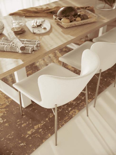 Esstisch und Stuhl in Ecru Farbe