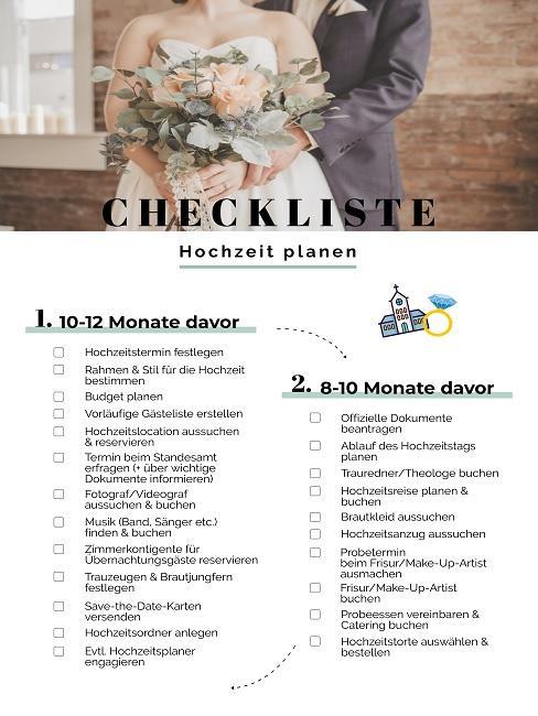 Checkliste Hochzeit planen Zeitplan Stichpunkte