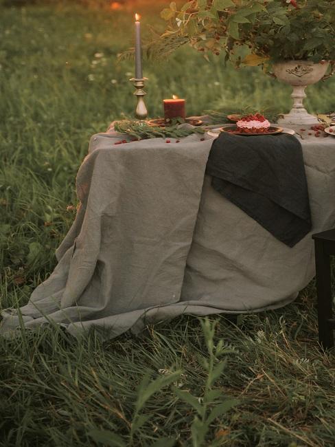 Tischdecke waschen: Tisch mit beiger und braunen Tischdecke im Freien