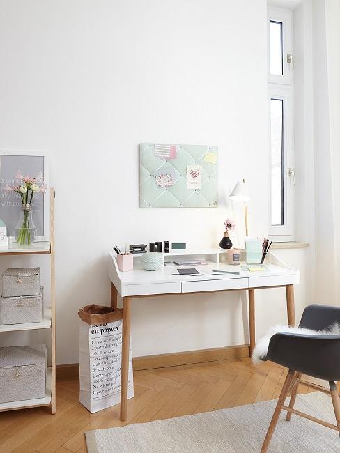 Atelier einrichten weißer Sekretär und schwarzer Stuhl