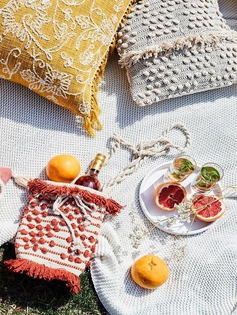 Sommerliche Getränke auf einer Decke mit Kissen