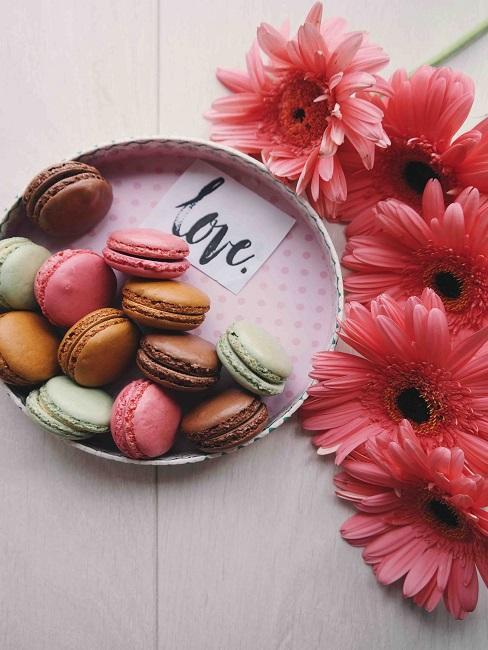 Ein Tablett mit Macarons in verschiedenen Farben auf einem Holztisch neben Blumen