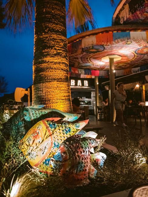 Das Aiyanna Ibiza bei Nacht - die bunten Schirme sowie bunte Deko Fische vor einem Baum werden beleuchtet