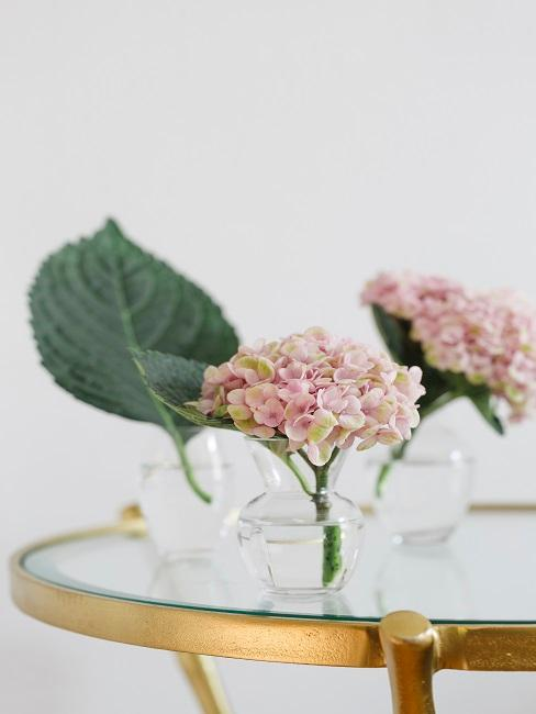 Girly Frühlingsdeko im Glas mit rosa Hortensien.