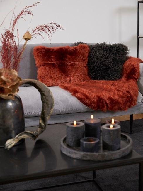 Rotes Fell und schwarzes Fellkissen auf Sofa