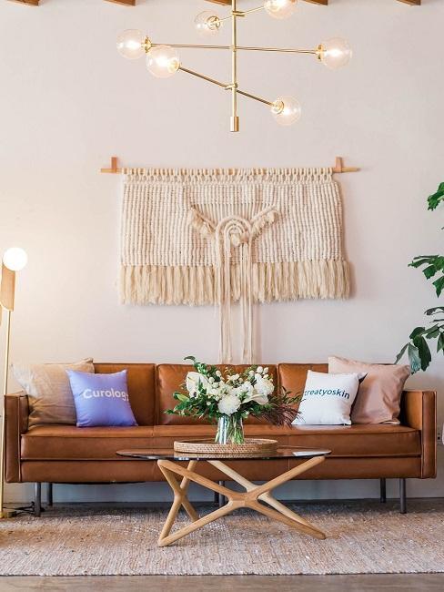 Makramee Wanddeko Sofa Wohnzimmer Naturfarben