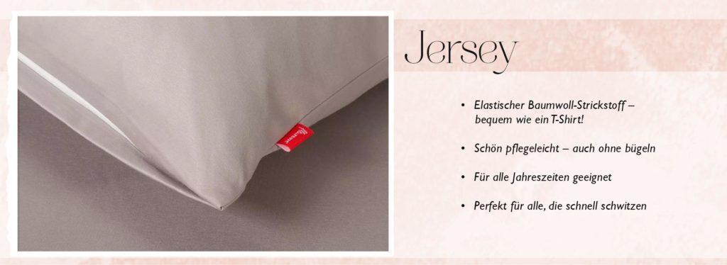 Beschreibung des Bettwäsche Materials Jersey