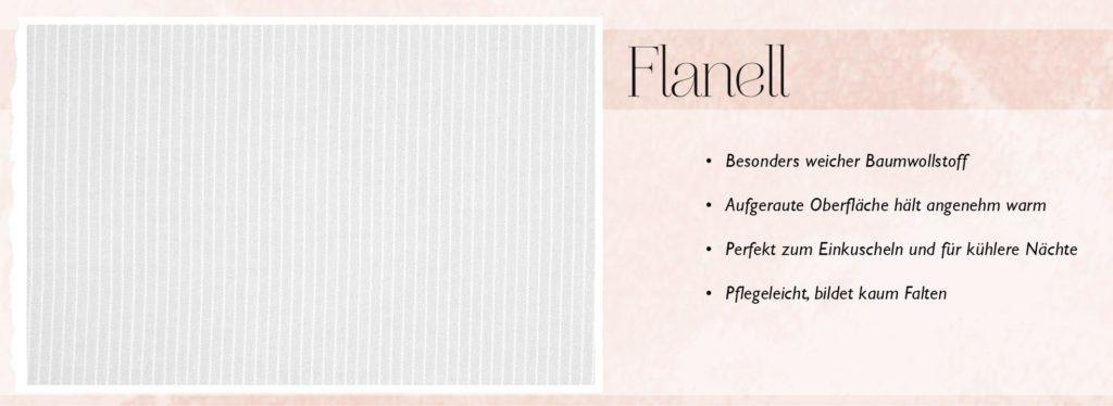 Beschreibung des Bettwäsche Materials Flanell