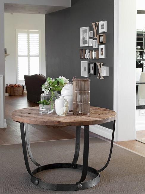 Wohnzimmer modern Tisch Industrial Metall Holz