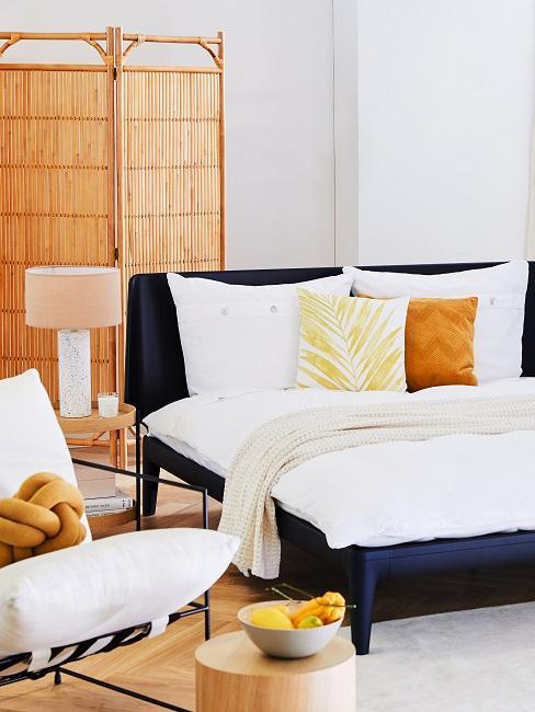 Schlafzimmer maritim mit Raumteiler