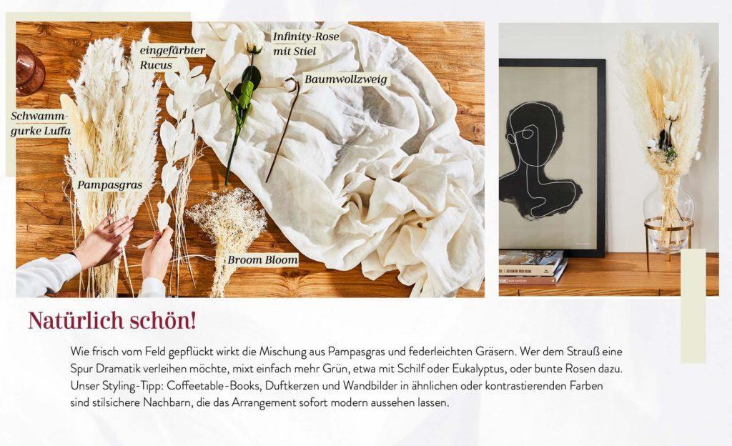 Anleitung für einen Trockenblumen Strauss mit Pampasgras