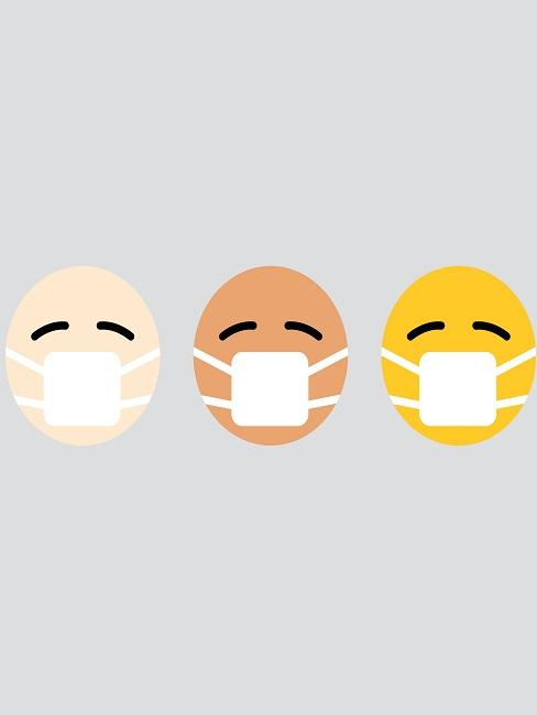 Mundschutz selber machen Emojis mit Mundschutz