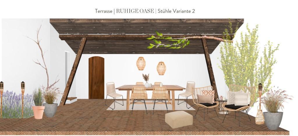 Terrasse neu gestalten Vorschlag 2 Stühle