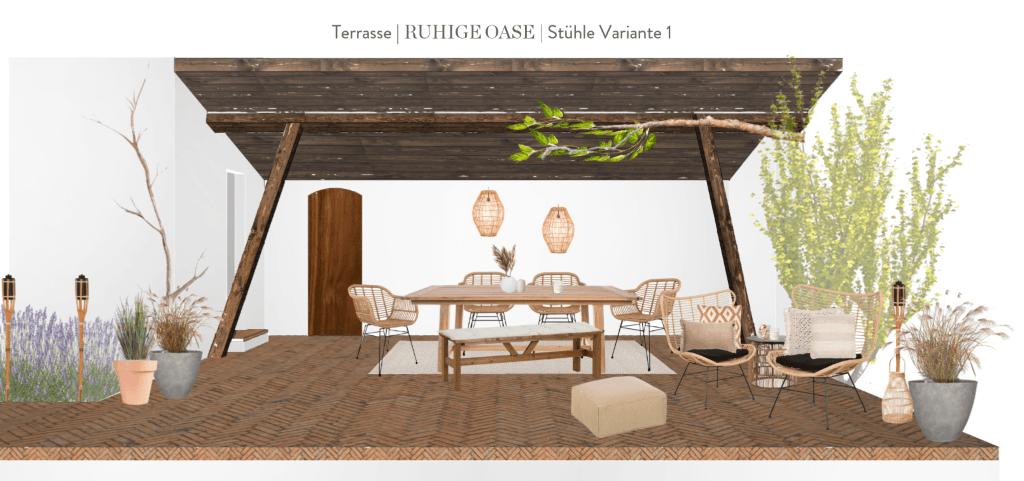 Terrasse neu gestalten Vorschlag 1 Stühle