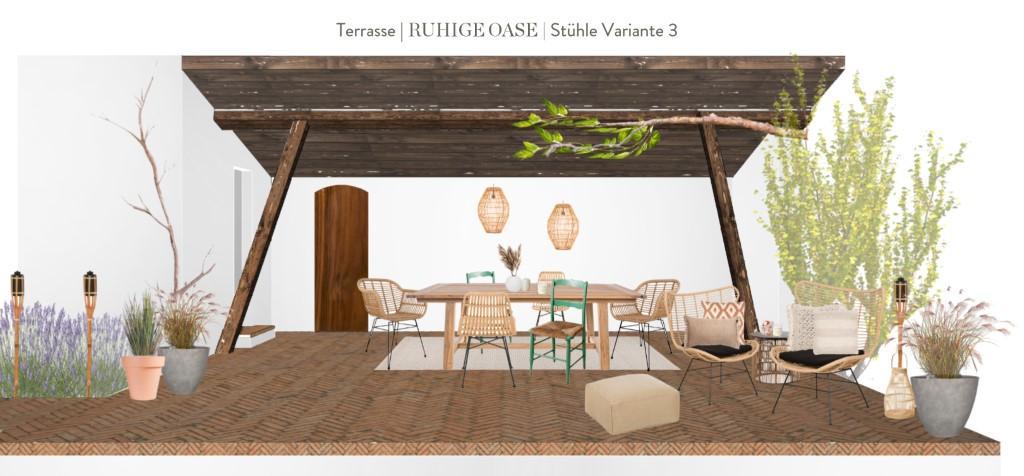 Terrasse neu gestalten Vorschlag 3 Stühle